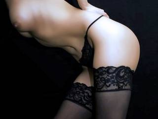black thong, black stockings..
