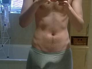 Hadn't uploaded a pic for a while and thought I'd give you a little tease. (have pics like this already, just thought you may enjoy seeing my extremely hard cock trying to bust out of my very tight boxers :P haha). Let me know what you ladies think!