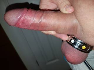 Trying out my new cock ring.  Originally wanted one to fit over my cock and balls but must\'ve miss measured as only fits over my balls but feels good all the same.  May need help in finding and measuring for the right size.