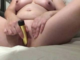 Feeling horny and using my little friend this morning.  Became very hot and bothered.