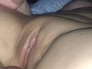 Tried stuffing my sac up her pussy.  Not the first time, and for sure won't be the last.  Bucket list is to get my sac stuffed up her ass while my cock is in her pussy....just hope the camera is close by when it happens.   Cheers!