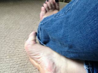 Someone said they wanted to cum on my soles, here you go. I have it arched and open for you to sling that thick cum all over my after work feet. I've been craving a load of cum all day.