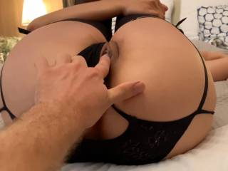 Rubbing my freshly fucked Asian pussy after he filled  me with his cummmm~ ~ ~ ~ !!! He likes to see his cum ooze from my cunt... would you like it too??