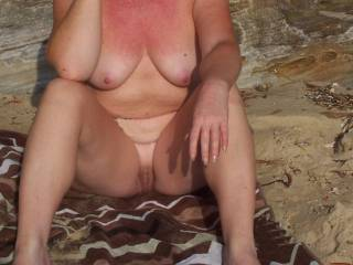 Nude beach.. Sheishot baring all in public. Wouldn\'t you like to be with us ??