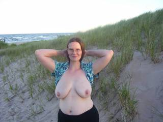 My wife flashing her big sexy breasts and rock hard nipples. Comment if you like her big hard nipples!