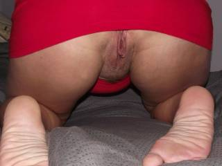 OMG....your thighs and pussy are so sexy and inviting.  Perfect for sitting on my face and letting my tongue do the walking.  I'd give anything to have those thighs around my head.  Soooooo fucking hot!  Going into my favorites.  Thanks, Hon!