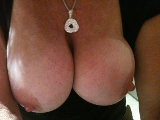 Favorited... And instant hard-on here!  I could slap those beauties with my hard cock like there's no tomorrow... And empty my huge set of full balls onto them. I would get you thoroughly splattered and drenched in hot cum, and that's a fact...  I wonder if you like the idea?