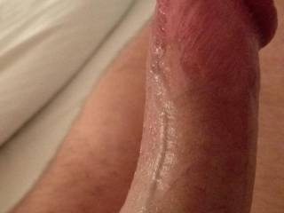 Mmmmm, your big shaved cock is so desirable... My pussy is already wet for you... I want to get on my knees and suck it, then ride it and bounce till you fill the depths of my cunt with your cum blast...