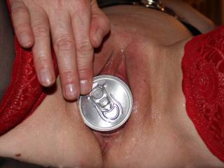 Love seeing your pretty pussy open wide enough to swallow that can.