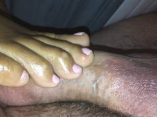 Milf stroking my cock