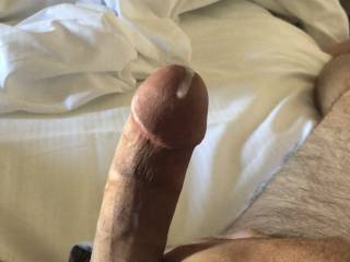 Jacking off with the wife's worn panties.  Gets me off knowing I'm rubbing her cunt on my cock as I jack.  She left me them when she went to take a shower.  I texted her the video clip after I came.