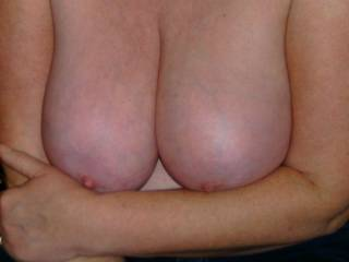 we would love to hear your comments about my wifes tits, her first time, decided she wanted to show them.