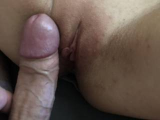 Rubbing his cock on my freshly waxed pussy. Would you like feel it?