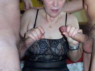 Just what I want my sexy little wife to do - have two big sexy cocks while I watch her enjoy them !.......
