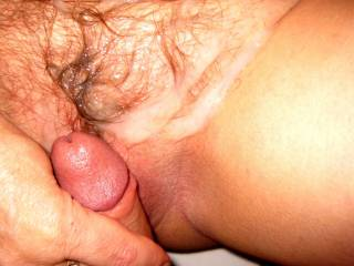 one of the best shots i've ever seen, her bush slick with cum