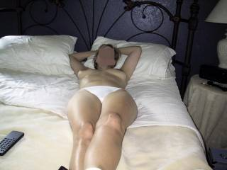 I\'m about to pull those white panties off and spread my wife\'s legs wide open.