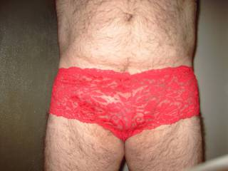 Love to show off in my red boy cut lace panties