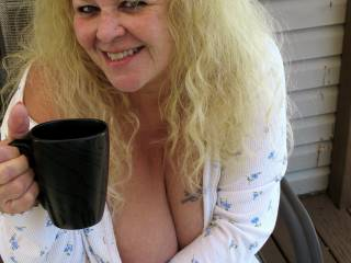 The wife enjoying a BBC in the morning ... (Big, Black Cup)