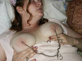 love nipple clips and would love to see her clip that to pussy clips tighten it and fuck her hard let her tits play with her pussy lips film it for us it will look great