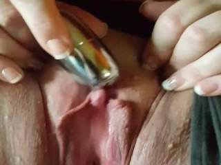 My submissive playing with her holes...