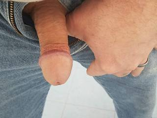 He wanted to cum out and play , which one of you ladies want to make him harder?