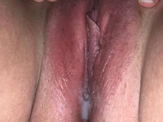 Wife sent me this pic at work of her cum filled pussy