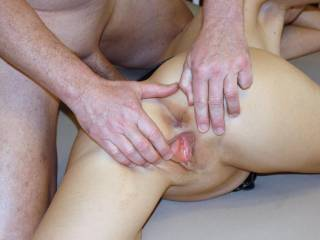 Mmm hold it open for me so I can rim her ass and then ease my hard cock inside her, xx