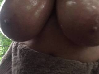 4 of 4 – big oiled tits hanging in woodland, all made on the same day – length 31 seconds
