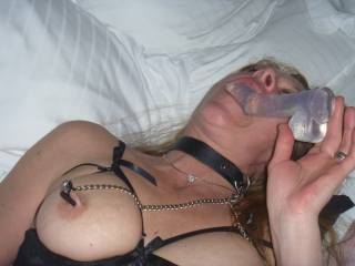 sucking a dildo while being well licked.......