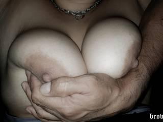 here enjoying my wifes big round boobs