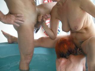 Fun in the spa with our swinger friends. The first time our friend had ever gone down on another woman. Mrs Oz was the lucky lady to receive her very lovely tongue.