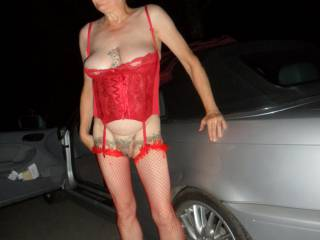 Hi we was out a few days ago started a photo session, here I am posing for hubby and around the corner comes a car, almost got spotted comments please mature couple