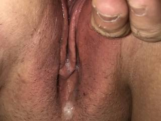 My cum dripping out of my wife