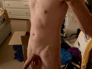 Hanging out before bed. Wish I had a few ladies to play with my soft, dangling cock...