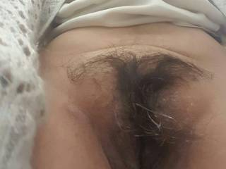 My sexy wife and her hot hairy pussy. She wants a thick and hard cock