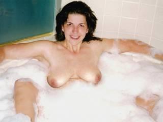 Bubble bath tits. Soaking my sexy body