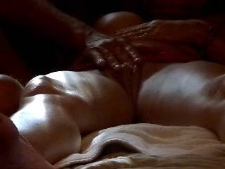I would like to lay between your legs licking your pussy while you stroke hubby.  Then sit back and watch.