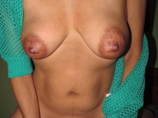 My wonderful view of my wife's amazing tits.