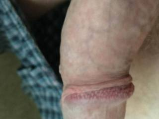 See my dick in its resting state. Look at the awesome ridge along the side of the head, with little bumps to run a wet tongue against. You will raise the dick to a huge size. Enjoy!!