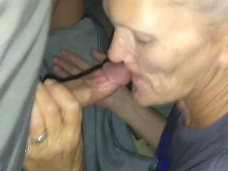 My upstairs neighbor knocked on my door looking for her boyfriend. She decided to suck my dick.