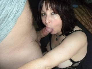Had a friend stop by so my whore wife could suck his dick. She is such a good  slut!   She\'s ready to suck more dick!