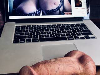 Watching my cock get fat and swell as I look at leeza7790's breasts.