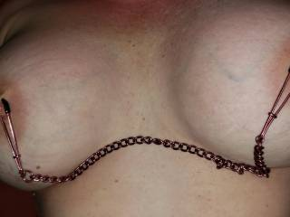 She goes nuts with nipple clamps on her sexy tits.