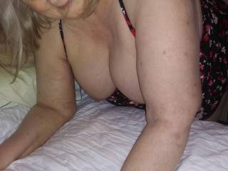 Bent over the bed, ready for my spanking! I\'ve been a bad girl ( in a good way!) How many licks should I get?