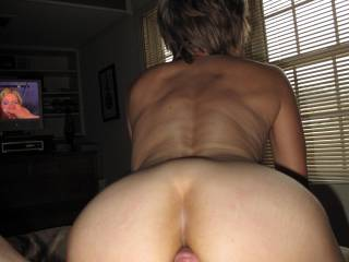 One of my favorite pics... about to go anal. Seriously, she is  so hot and just a wonderful humble lady. Not shy but, observant. Yep, 64.