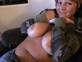 Wife showing them lovely tits off