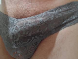 Tried on her new panties, I like.