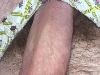 Playing in my wife panties. Gets me all hot and wet just like my wife....