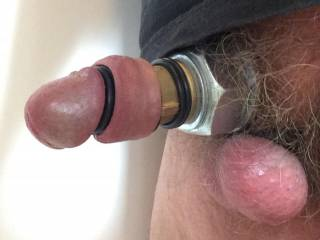 Cyborg cock with metal and rubber rings