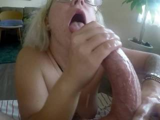 Stroking a load of cum out of my cock like a good girl